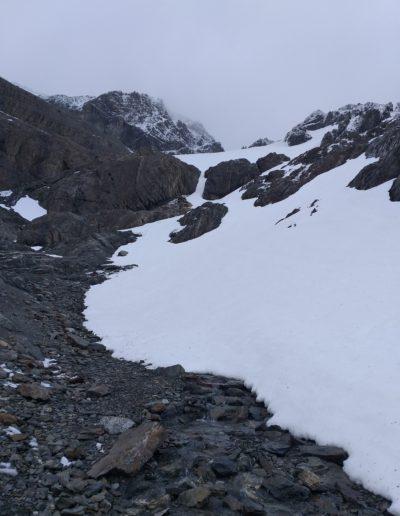 Glaciar Martial nevado en verano.